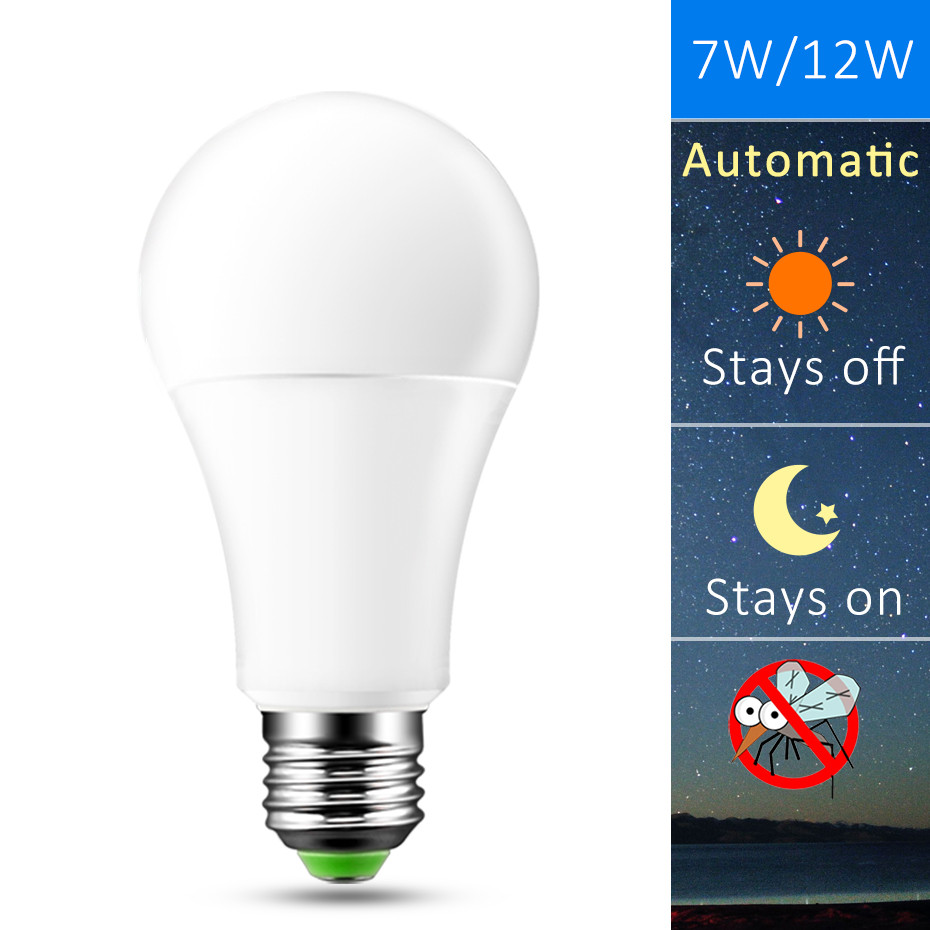 LED Night Light Dusk to Dawn Bulb 7W 12W E27 B22 Smart Light Sensor Bulb AC85-265V Automatic on/off Indoor/Outdoor Lighting Lamp