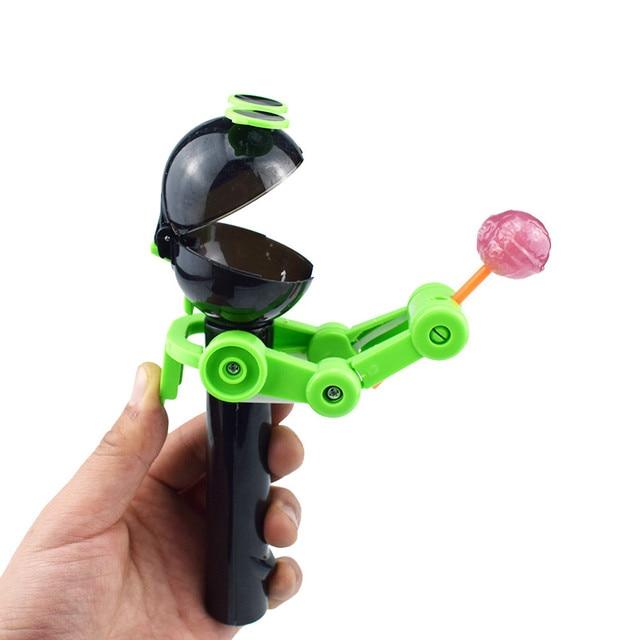 Pirulitos Artefato Gadgets Engraçado Comer pirulito Divertido Armazenamento Carrinho Titular Robô Robô Criativo Crianças Brinquedos Presentes Oyuncak