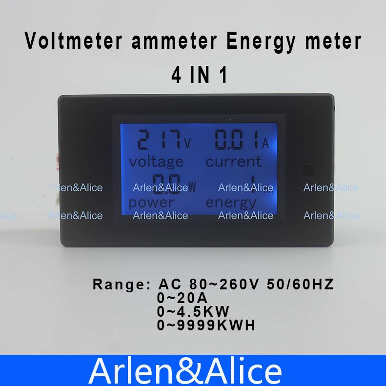 LCD 4IN1 display Voltage current active power energy meter blue backlight panel voltmeter ammeter kwh 0-20A 80-260V 50/60HZ 20a ac digital lcd panel power meter monitor power energy ammeter voltmeter blue backlight dual measuring 80 260v