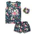 3-años 2016 Verano Nuevo Conjunto de Flores Ropa de los Bebés Fija de Color Retro Flowers Letras t-shirts + Shorts Traje Ropa de moda Para Niños