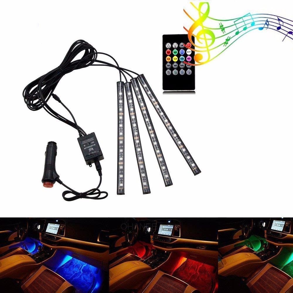 Car Atmosphere Light Under Dash Lighting Kit 4pcs 48 Leds With Sound Active Wireless Remote Control Car Charger Power