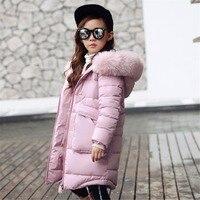 الأب تشن جديد أزياء الاطفال الدافئ سميكة الفراء طوق مقنع أطفال الشتاء سترة فتاة الشتاء معطف طويل أسفل معاطف المراهقات