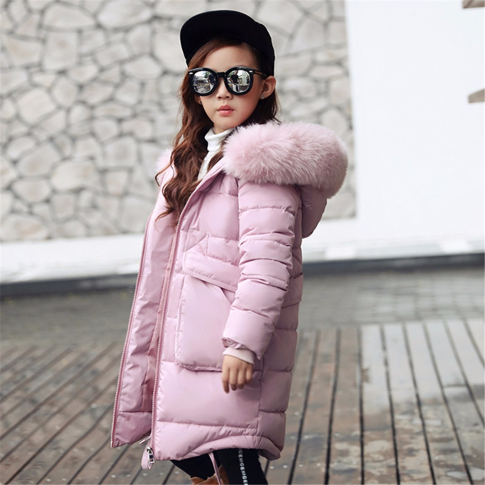 Daddy Chen New Fashion Kids Warm Thick Fur Collar Hooded Children Winter Jacket Girl Winter Coat Long Down Coats for Teenage fashion girls winter white duck down jackets and coats children faux fur hooded long coat kids girl thick warm jacket 2017