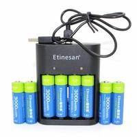 8pcs 1.5v 3000mWh Etinesan AA Li polymer li ion polymer lithium rechargeable battery + USB AA AAA Charger !