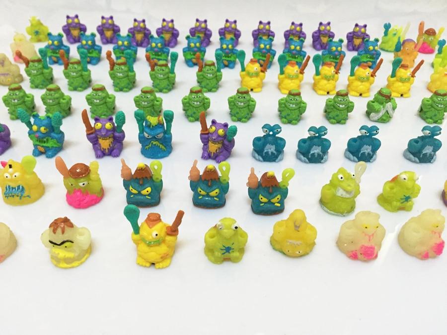 100 pcs/lot Colorful cartoon anime action figure toy2-3cm, PVC soft garbage trash pack model toys