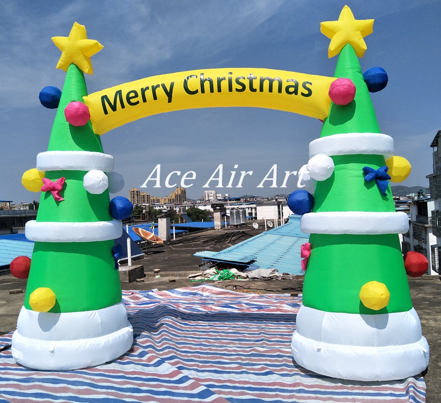 High quality Attractive Inflatable Tree Christmas Arch entrance for Holiday Party Decoration