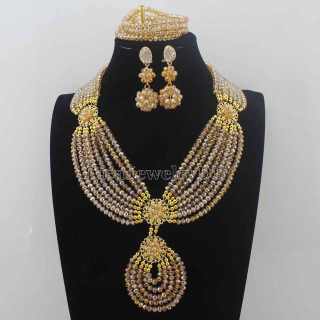 Fashion Champagne Gold Wedding Beads African Jewelry Sets 18K Dubai Bridal Costume Necklace Set New ArrivaI Free Shipping HD8315