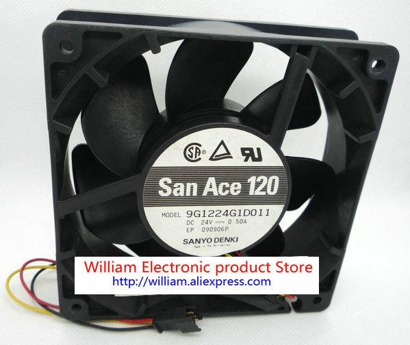 Original SANYO 9G1224G1D011 DC24V 0.5A 120*120*38MM 12cm Alarm Signal Ball Bearing Inverter cooling fan original delta afb1212hhe r00 dc12v 0 70a 3wires 120 120 38mm 12cm alarm signal cooling fan