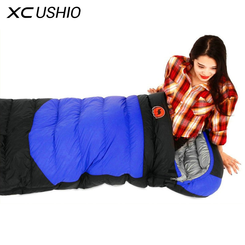Outdoor Ultralight Camping Sleeping Bag Envelope White Duck Down Sleeping Bag Winter Hooded Splicing Sleeping Bag 1900g creeper cr sl 002 outdoor envelope style camping sleeping bag w hood royalblue dark blue