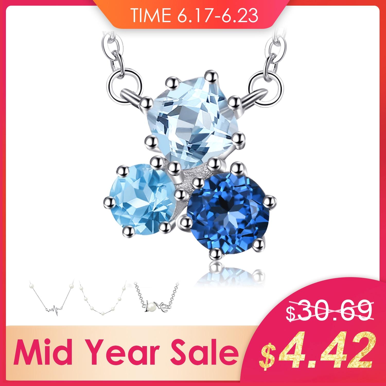 JewelryPalace 1.7ct Echte Multi London Blue Topaz Anhänger Halskette 925 Sterling Silber 18 Zoll Modeschmuck Für Frauen