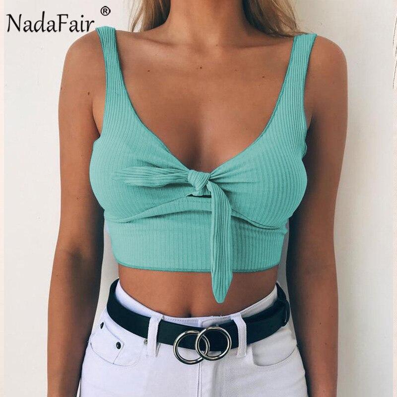 Nadafair sin mangas sin respaldo cuello en V Casual de verano tanque Tops 2018 nueva moda Sexy Tops de algodón corto T camisa