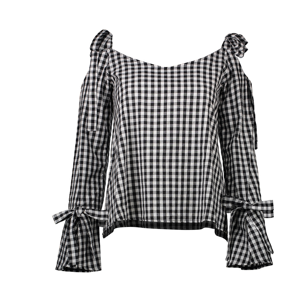 Plaid Loose Tops Cold Shoulder Tops Off The Shoulder Feminina Blusas Y Camisas Mujer Women Shirts Blouses Sexy European New
