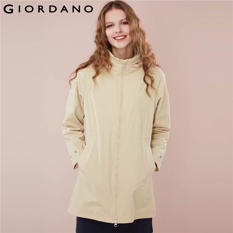Giordano Women Windbreaker Jacket Women Banded Waist Hidden Hood Long Style Windbreaker Women Jacket Mutil Pockets