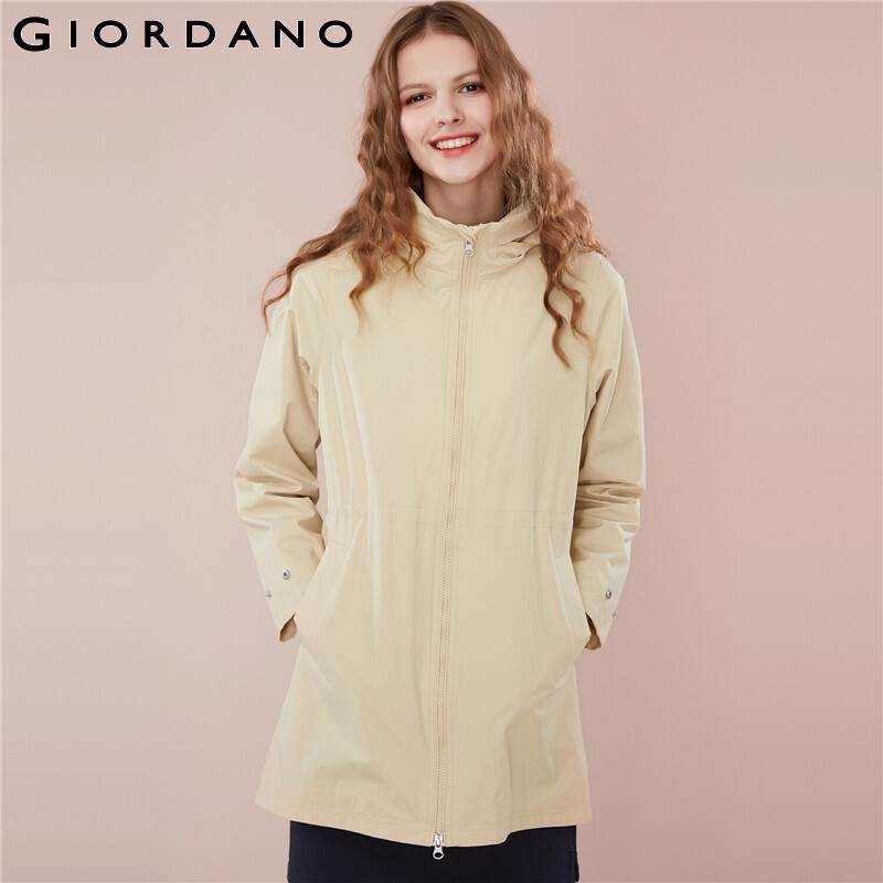 Kadın Giyim'ten Siper'de Giordano Kadın Rüzgarlık Ceket Kadın Bantlı Bel Gizli Hood Uzun Tarzı Rüzgarlık Kadın Ceket Çok Cepler Uzun Ceket'da  Grup 1