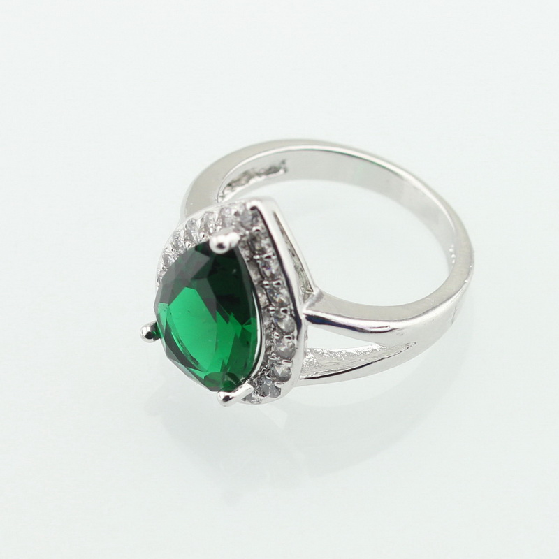 WPAITKYS Drop Water Trendy Green Cubic Zirconia Silver Color Ring For Women Party Crystal Jewelry Size 6 7 8 9 10 Free Gift Box 4