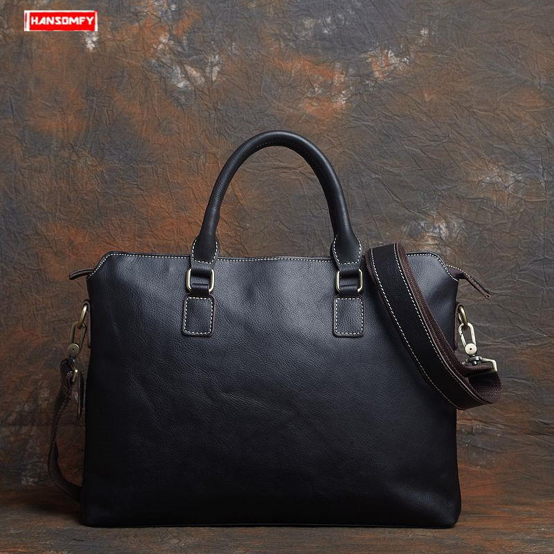 2019 New Simple Cowhide Leather Men Briefcases Handbag 14 Inch Computer Shoulder Bag Genuine Leather Laptop Business Briefcase