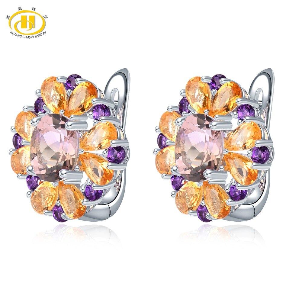 Hutang Ametrine Hoop Earrings Natural Gemstone Amethyst Citrine 925 Sterling Silver Fine Elegant Jewelry for Women