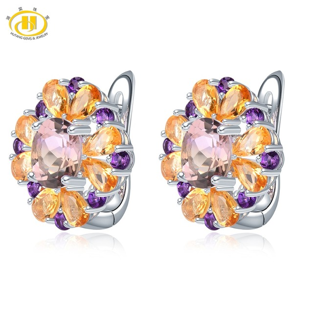 Hutang Ametrine Women's Hoop Earrings Natural Gemstone Amethyst Citrine 925 Sterling Silver Fine Elegant Jewelry New Arrival