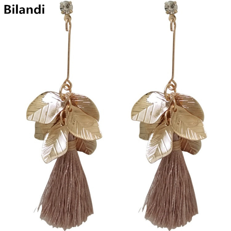 Fashion Stylish Leaves Sweet Thread Tassel Earrings For Woman Jewelry image