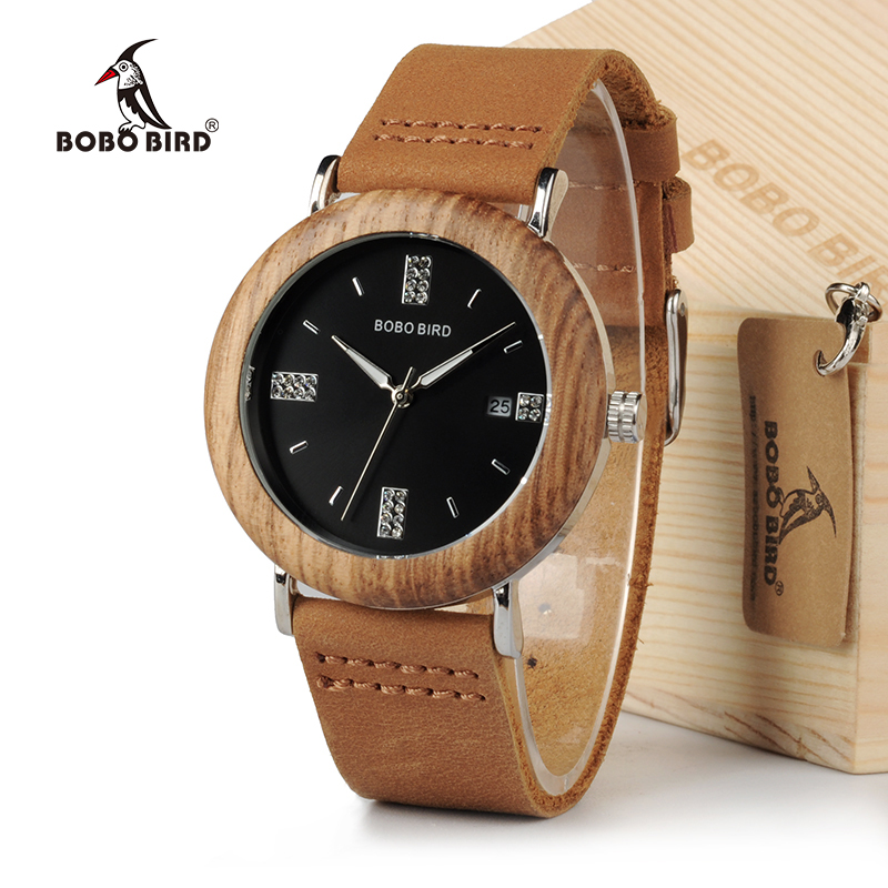 BOBO BIRD Crystal Men Watches Wooden Bezel Steel Watch with Brown Leather Strap in Gift Box