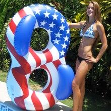 2018 νεότερο φουσκωτό κολύμπι δαχτυλίδι ενηλίκων διπλό πρόσωπο κολυμβητής σωσίβιο σωσίβιο πλωτήρα ΗΠΑ σημαία εκτύπωση δαχτυλίδι βραχίονα κολύμβησης Piscina Boias