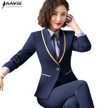 Новинка, модные деловые женские брюки для интервью, костюмы размера плюс, для работы, офиса, для девушек, с длинным рукавом, строгие блейзеры и брюки, набор