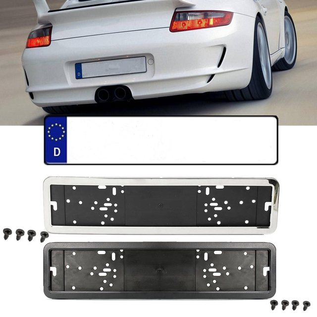 European / German / Russian Car License Plate Frame Stainless Steel ...