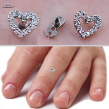 Starbeauty 1set Light Tide Micro Dermal Piercing Top 16G Heart Skin Diver Piercing Hand Hide-it Skin Titanium Steel Body Jewelry(China)