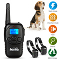 Rechargeable Remote Dog Training Collar Blue Backlight Wireless Waterproof Electric Shock Anti Bark Mini Whistle Beeper Collar