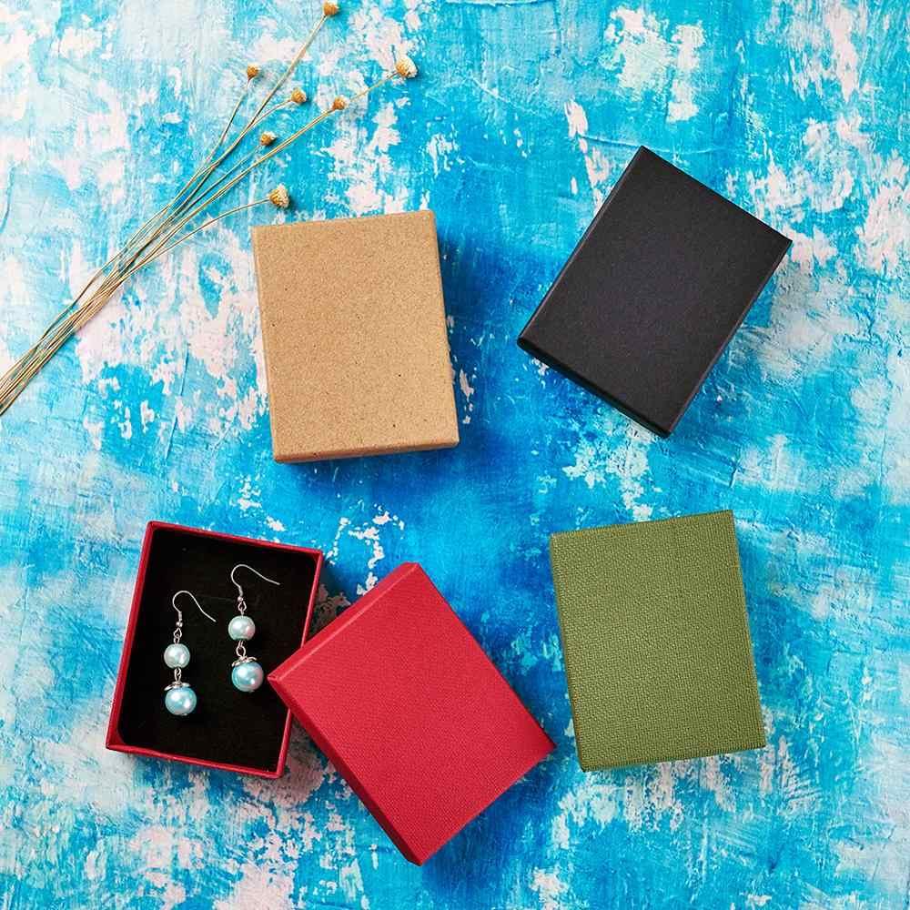 12 Uds conjunto de joyas de cartón caja de regalo anillo collar pulseras pendientes regalo cajas de embalaje con esponja dentro rectángulo