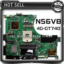Original N56VB Laptop Motherboard for Asus REV2 3 Mainboard GT740 4G PGA 989 HM76 Fit N56V