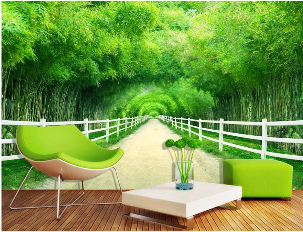 Custom mural photo 3d wallpaper Bamboo forest fence path clean TV background wall painting 3d wall murals wallpaper for wall 3 d