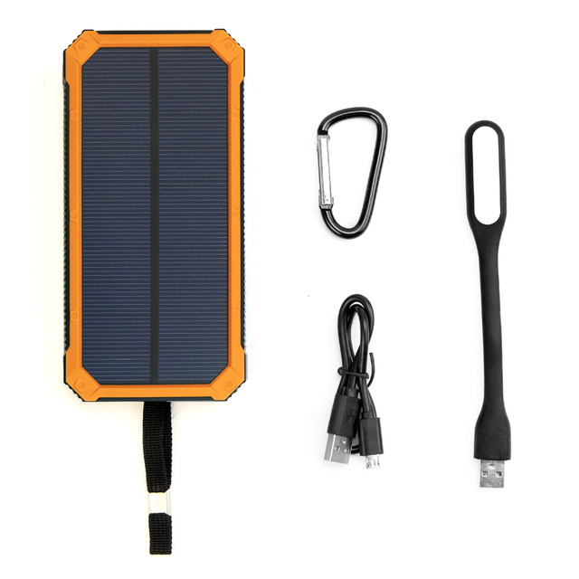 15000mAh Solar Power Bank Emergency Solar Power Panel Charger External Battery for iPhone Samsung Xiaomi Cell Phones Outdoors