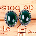 Natural Chalcedony Earring 925 Silver Women Yellow Green Agate MARCASITE S925 Thai Silver boucle d'oreille Stud Earrings