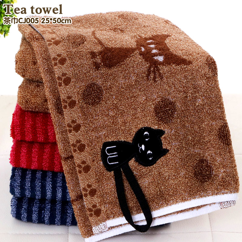Fashion cartoon cat soft and comfortable cotton towel Deep color can be linked to a small towel Hook towel Children towe