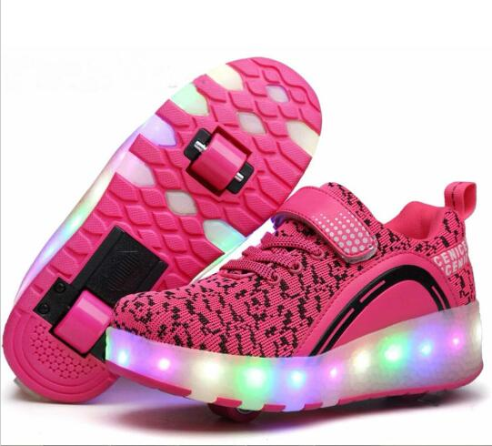 2017 New Children LED Light Roller Shoes Boy Girl Automatic Glowing Shoes Kids Fashion Casual Sneakers With Two Wheels 2017new children led light shoes with one two wheels kids pu leather high help roller skate shoes boys girls sneakers shoes