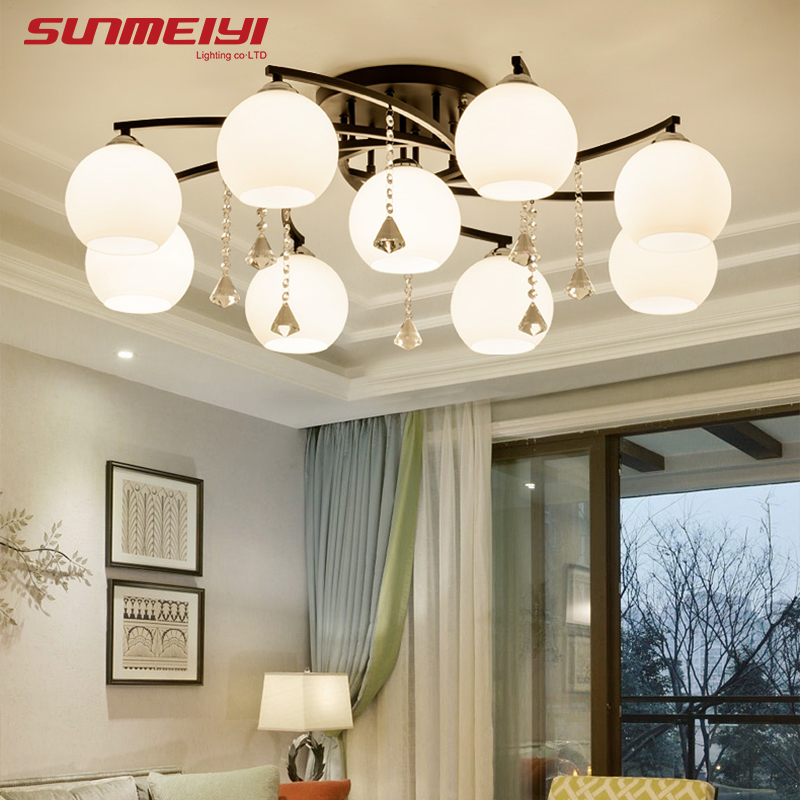 Modern LED Crystal Ceiling Lights candeeiro de teto Lamps For Living room Dining room luminaria led Glass Light Fixtures Modern LED Crystal Ceiling Lights candeeiro de teto Lamps For Living room Dining room luminaria led Glass Light Fixtures