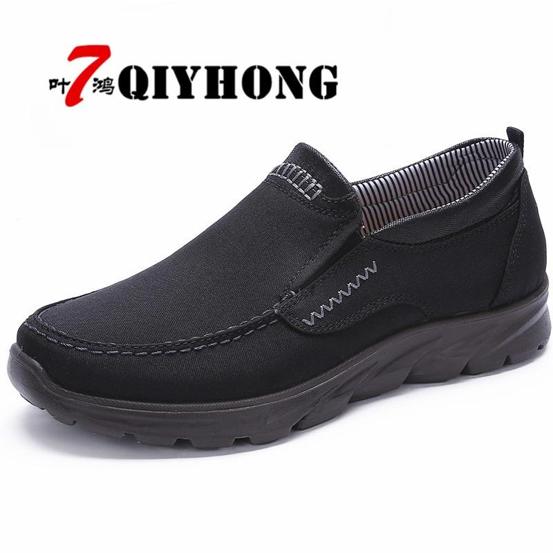 QIYHONG Canvas Men Shoes Denim High Quality Men Casual Shoes New 2018 Plimsolls Breathable Male Footwear Spring Autumn 38-48