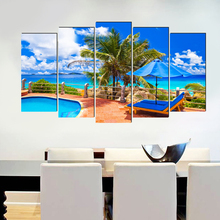Sea beach realist canvas painting home deco art prints 5 psc classical wall pictures for parlor hotel bedroom lobby office shop realist interviewing