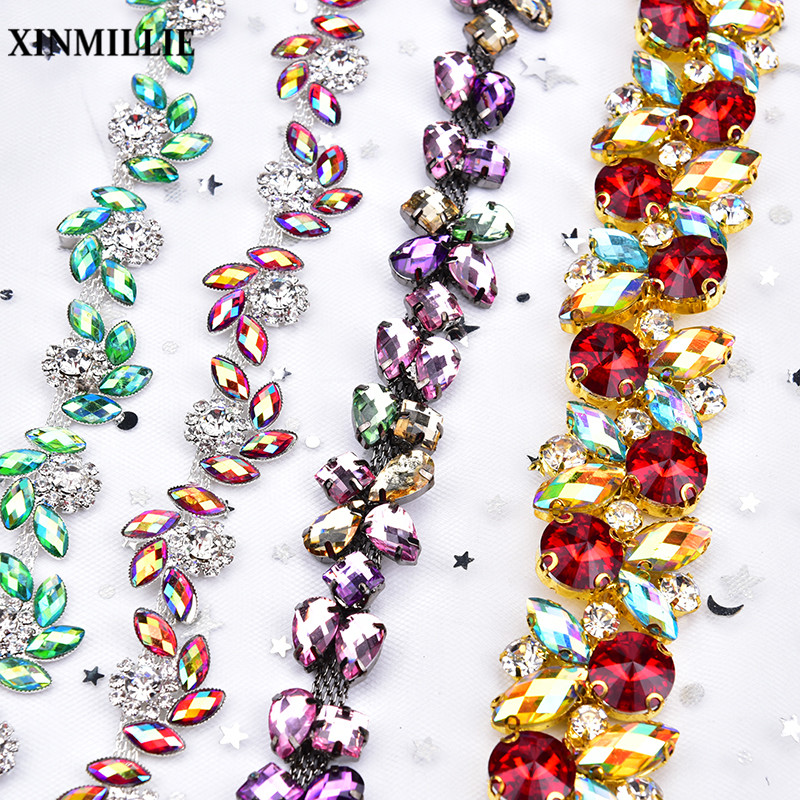 New High Quality 1yard/Lot Rhinestone Trim Mix Color Crystal Flower Chain Wedding Decoration Sew On Garment Diy Accessories