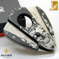 Metal Construction Painted Skull in Black Ground Cigar Cutter/Scissor knife with 2 Blades Tobacco Cutting For Cuban Cigar