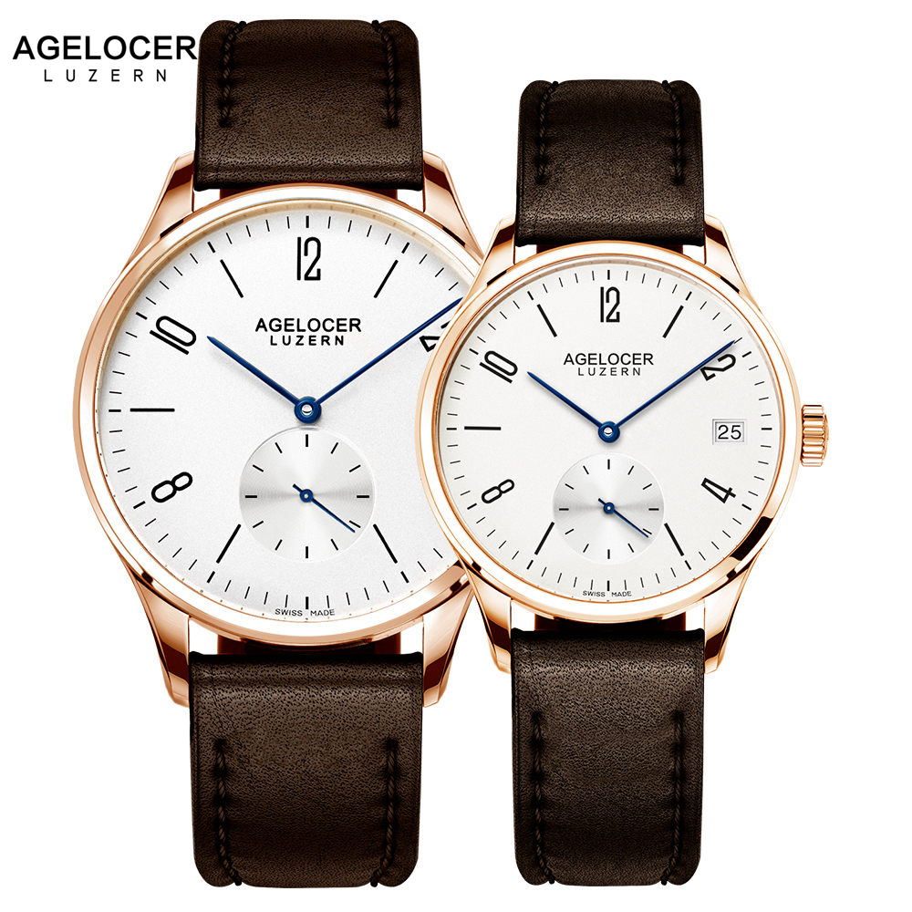 Agelocer Switzerland brand Casual lovers watches couple 2 pieces stainless steel Men Women Couple Wrist watches with watch box women watches rose gold 2018 brand luxury watch lovers couple wrist watches for men and women colck casual japanese movement new