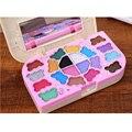 Portátil de Imprimación 20 colores Shimmer Maquillaje paleta de Sombra de Ojos en polvo brillo de labios Colorete set caja de Dulces Niños forma de sombra de ojos Cosméticos