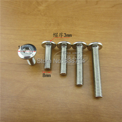 50pcs M8*20 Steel With Nickel Connector Screw,hex Socket Bolts Kitchen  Furniture Cabinet
