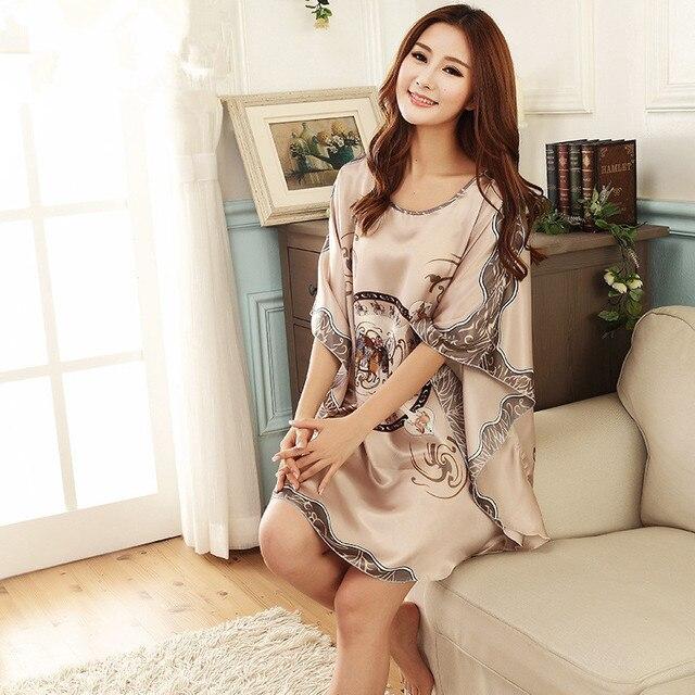 New Flower Women's Summer Nightgown Bathrobes Satin Printed Loose Kaftan Sleepwear Dress Fashion Sexy Bridesmaids Robes