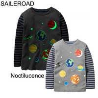 Camiseta para meninas com noctilucence universo meninos manga longa t camisas novas crianças camisetas para bebê roupas para crianças