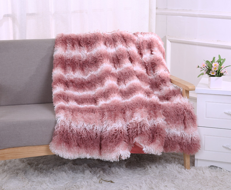 New Pink Blanket Super Soft Strips Long Shaggy Fuzzy Fur Faux Fur Warm Elegant Cozy With Fluffy Sherpa Throw Blankets Bed Cover