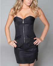 3-in-1 Set Womens Black Corset Bustiers Shaper Vertical Stripes Lace Up New