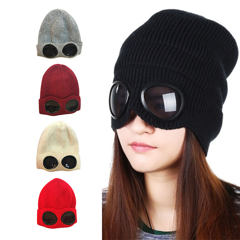 1 Pcs Women Men Knitted Hat Cap Thicken Warm Beanies Skiing with Glasses Winter -MX8