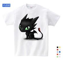 купить Summer Dragon Black T-shirt Without Teeth Tops Men T Shirt How To Train Your Dragon Vintage T-shirt Cotton Cloth Clothes YUDIE дешево
